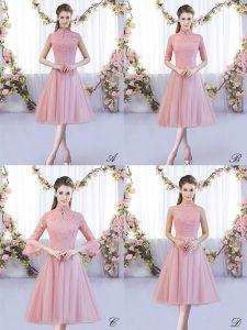 Dramatic Pink A-line Tulle High-neck Cap Sleeves Lace Tea Length Zipper Damas Dress