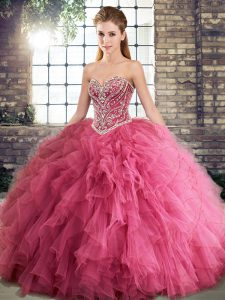 Fabulous Floor Length Watermelon Red Quinceanera Gowns Tulle Sleeveless Beading and Ruffles