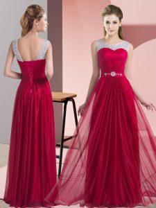 Amazing Wine Red Chiffon Lace Up Dama Dress Sleeveless Floor Length Beading and Belt