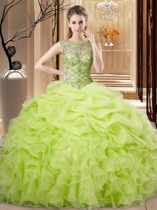 Floor Length Yellow Green Quinceanera Dress Scoop Sleeveless Lace Up