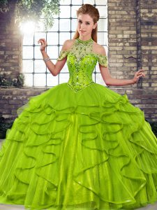 Customized Floor Length Olive Green Quinceanera Gowns Halter Top Sleeveless Lace Up
