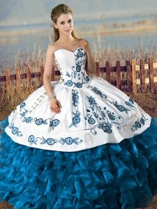 8a182d37371 Wonderful Blue And White Sleeveless Satin and Organza Lace Up Quince Ball  Gowns for Sweet 16