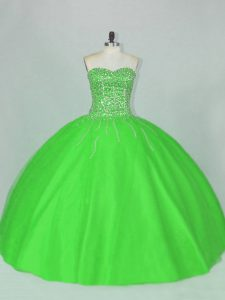 Tulle Sweetheart Sleeveless Lace Up Beading Sweet 16 Dress in Green