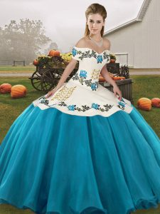 Blue And White Sleeveless Organza Lace Up Quinceanera Dresses for Military Ball and Sweet 16 and Quinceanera