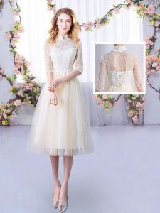Beautiful Half Sleeves Tulle Tea Length Lace Up Quinceanera Dama Dress in Champagne with Lace