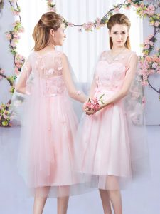 Baby Pink Tulle Lace Up V-neck Sleeveless Tea Length Dama Dress Appliques and Belt