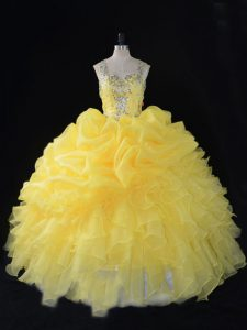 Unique Floor Length Yellow Ball Gown Prom Dress Straps Sleeveless Zipper