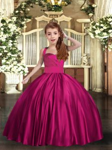 Fuchsia Sleeveless Satin Lace Up Little Girls Pageant Gowns for Party and Sweet 16 and Wedding Party