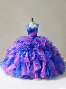 Elegant Organza Sleeveless Floor Length Sweet 16 Quinceanera Dress and Beading and Ruffles