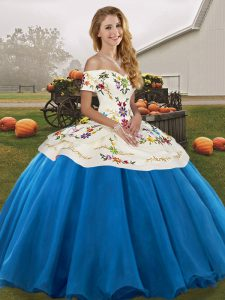 Blue And White Off The Shoulder Lace Up Embroidery Sweet 16 Dresses Sleeveless