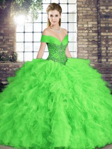 Fine Tulle Sleeveless Floor Length 15 Quinceanera Dress and Beading and Ruffles