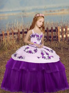 Eggplant Purple Sleeveless Floor Length Embroidery Lace Up Little Girls Pageant Dress Wholesale