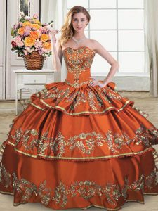 Ruffles and Ruffled Layers Vestidos de Quinceanera Rust Red Lace Up Sleeveless Floor Length