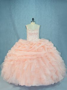 Customized Straps Sleeveless 15 Quinceanera Dress Beading Peach Organza