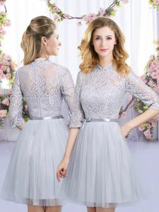 High Quality Grey Half Sleeves Lace and Belt Mini Length Vestidos de Damas