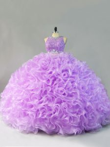 Nice Sleeveless Fabric With Rolling Flowers Floor Length Zipper 15 Quinceanera Dress in Lavender with Beading and Ruffles