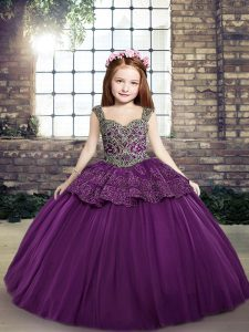 Sleeveless Beading and Appliques Lace Up Girls Pageant Dresses