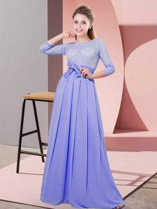 3 4 Length Sleeve Floor Length Lace and Belt Side Zipper Dama Dress with Lavender