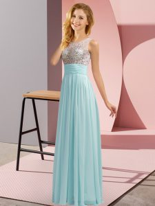 Chiffon Sleeveless Floor Length Vestidos de Damas and Beading