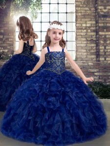Sumptuous Blue Ball Gowns Straps Sleeveless Organza Floor Length Lace Up Beading and Ruffles Little Girl Pageant Gowns