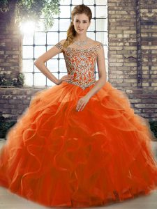 Fabulous Lace Up Quinceanera Dresses Orange Red for Military Ball and Sweet 16 and Quinceanera with Beading and Ruffles Brush Train