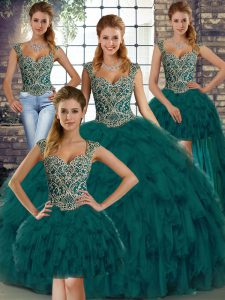 Fine Ball Gowns 15th Birthday Dress Peacock Green Straps Organza Sleeveless Floor Length Lace Up