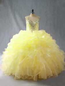Unique Sleeveless Floor Length Beading and Ruffles Zipper Quinceanera Dresses with Yellow