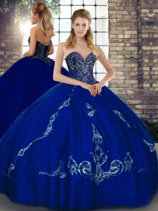 Romantic Royal Blue Lace Up Sweetheart Beading and Embroidery Sweet 16 Dress Tulle Sleeveless