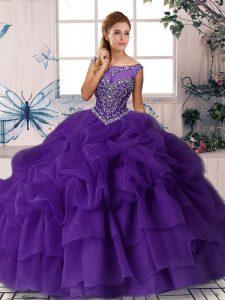 Fashionable Purple Sleeveless Beading and Pick Ups Zipper Vestidos de Quinceanera