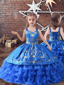 Royal Blue Straps Neckline Embroidery and Ruffled Layers Little Girls Pageant Dress Sleeveless Lace Up
