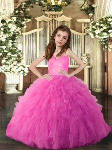 Best Hot Pink Pageant Gowns Party and Sweet 16 and Wedding Party with Ruffles Straps Sleeveless Lace Up