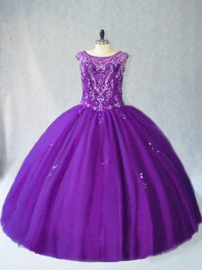 Purple Ball Gowns Tulle Scoop Sleeveless Beading and Appliques Floor Length Lace Up 15th Birthday Dress