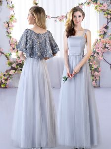 Fantastic Tulle Straps Sleeveless Lace Up Appliques Dama Dress for Quinceanera in Grey
