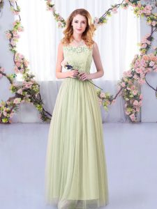 Top Selling Floor Length Yellow Green Damas Dress Tulle Sleeveless Lace and Belt