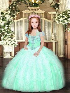 Hot Sale Apple Green Lace Up Straps Beading and Ruffles Little Girl Pageant Dress Tulle Sleeveless