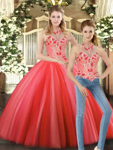 Artistic Sleeveless Floor Length Embroidery Lace Up Sweet 16 Quinceanera Dress with Coral Red