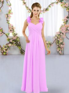 Chiffon Sleeveless Floor Length Quinceanera Court of Honor Dress and Hand Made Flower