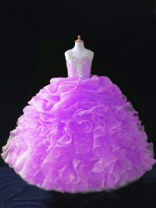Lilac Ball Gowns Organza Straps Sleeveless Beading and Ruffles and Pick Ups Floor Length Zipper Child Pageant Dress