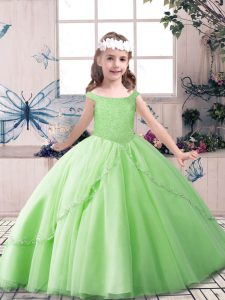 Tulle Lace Up Off The Shoulder Sleeveless Floor Length Pageant Dress for Teens Beading