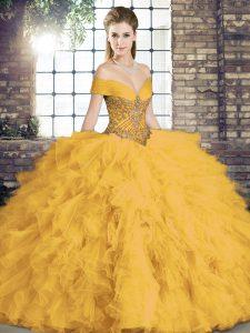 Gold Sleeveless Beading and Ruffles Floor Length Sweet 16 Dress
