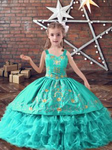 Decent Sleeveless Floor Length Embroidery and Ruffled Layers Lace Up Little Girls Pageant Gowns with Turquoise