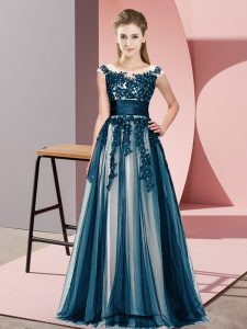 Excellent Navy Blue Empire Scoop Sleeveless Tulle Floor Length Zipper Beading and Lace Quinceanera Dama Dress