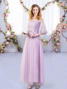 Fashionable Lavender Side Zipper Vestidos de Damas Lace and Belt Half Sleeves Floor Length