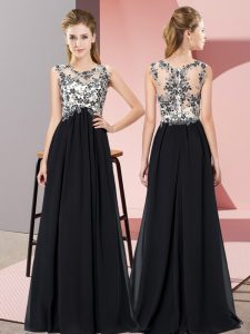 Custom Designed Black Scoop Zipper Beading and Appliques Quinceanera Court of Honor Dress Sleeveless