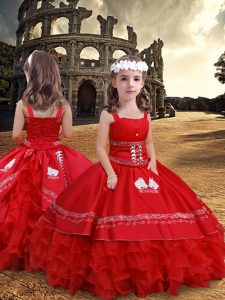 Floor Length Red Little Girls Pageant Dress Satin and Organza Sleeveless Embroidery and Ruffled Layers