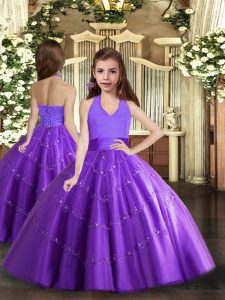 Purple Ball Gowns Beading Pageant Gowns Lace Up Tulle Sleeveless Floor Length