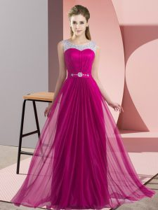 Beauteous Scoop Sleeveless Lace Up Quinceanera Dama Dress Fuchsia Chiffon