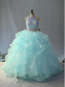 High End Light Blue Scoop Neckline Beading and Ruffles Vestidos de Quinceanera Sleeveless Backless