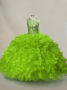 Enchanting Ball Gowns Quinceanera Gowns Green Scoop Organza Sleeveless Floor Length Lace Up