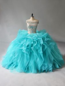 Clearance Ball Gowns Sleeveless Aqua Blue Sweet 16 Dresses Brush Train Lace Up
